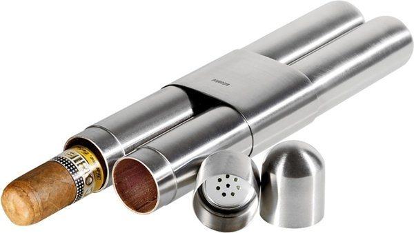 Astuccio Adorini per sigari, in acciao di alta qualità, finitura satinata / interno in cedro, per 2 sigari