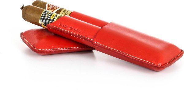 Reinhold Kühn Zigarrenetui für 2 Zigarren Nähte verdeckt rot