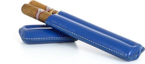 Reinhold Kühn Zigarrenetui für 2 Zigarren Nähte sichtbar blau