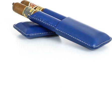 Reinhold Kühn Zigarrenetui für 2 Zigarren Nähte verdeckt blau