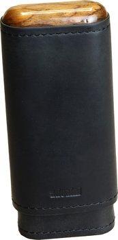 adorini Zigarrenetui für 2-3 Zigarren Leder schwarz Ober- und Unterseite Holz